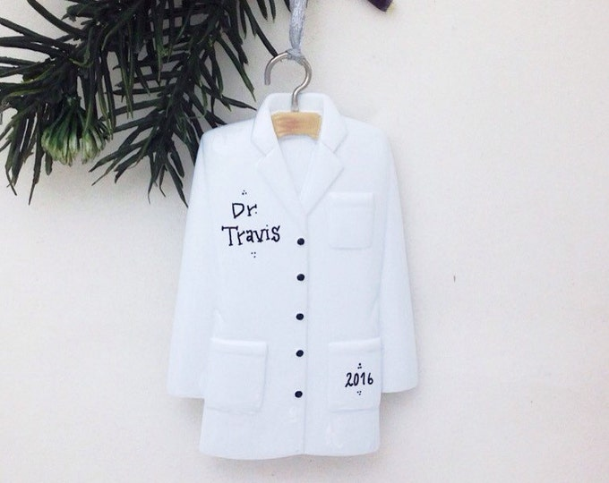 Featured listing image: Lab Coat Personalized Christmas Ornament / Doctor Ornament / Scientist / Pharmacist Ornament / Researcher / Stocking Stuffer