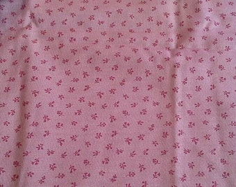 Red Floral Calico Print Cotton Polyester Blend Fabric 1 Yard X0725