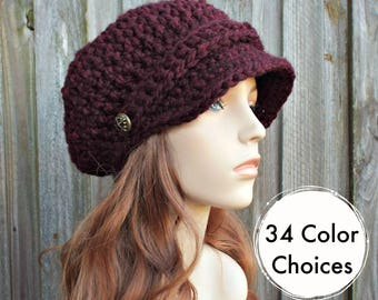 Claret Red Wine Hat Burgundy Newsboy Hat Red Crochet Hat Red Womens Hat Red Slouchy Hat Fall Fashion Winter Accessories - 34 Color Choices