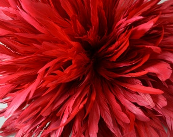 25-30pcs Rooster Tail Satinette Feathers-Red