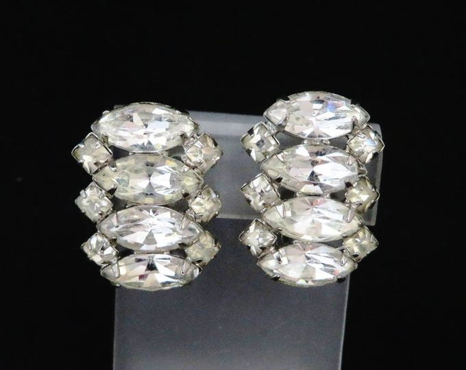 Weiss Bridal Earrings, Rhinestone Clip-ons, Vintage Silver Tone Designer Signed Clip-on Earrings, Bridal Jewelry, Gift for Her