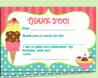 Ice Cream Thank You Notes Printable - Instant Downloaad - Sweet Shoppe Collection