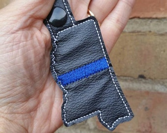 Police Keychain - Thin Blue Line - Mississippi  Keychain- Thin Blue Line Keychain - Thin Blue Line Mississippi  - Police Wife - Personalized