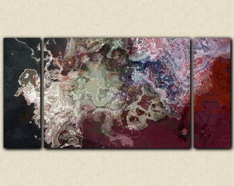 """Large abstract expressionism triptych stretched canvas print, 30x60 to 40x78 in dark neutral and red tones, from abstract painting """"Kashmir"""""""