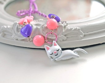 Kawaii White cat Necklace necklace Diego is napping