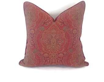 Burgundy Damask Pillow Cover