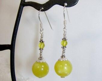 Serpentine Jade and Silver earrings