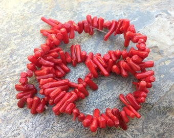 Red Coral Beads, Red Branch Coral, 8 to 15 mm, 15 inch strand