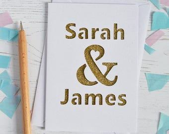 Personalised Ampersand Glitter Cut Out Card Wedding Card - Anniversary Card - Engagement Card - Valentine's Day Card