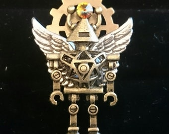 Octopunx Flying Robot Angel with Swarovski Crystal Steampunk Brooch Mixed Metal