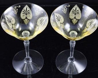 Set of 2, Fostoria, Trojan Etch No. 280, Topaz, Saucer Champagne Stems