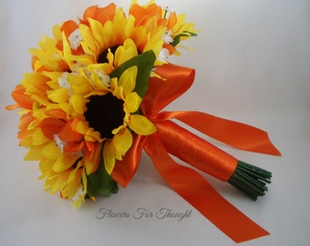 Sunflower and Orange Daisies Bridal Bouquet, Persimmon Rustic Fall Wedding
