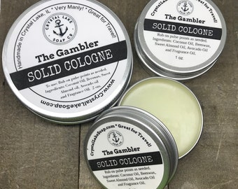 The GAMBLER  Solid Cologne Tin - Great for Travel, Work, Gym & Pocket.  FIERCE Favorite Masculine Cologne