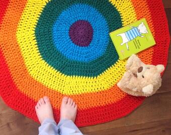 Rainbow play mat -  Waldorf crochet rug - Montessori inspired play mat
