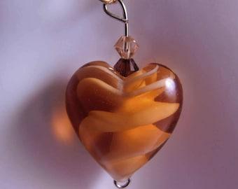 Orange Swirl Murano Glass Heart Necklace * Artisan Heart Glass Necklace * Heart Jewelry * Orange Heart * Murano Glass Jewelry * Orange Heart