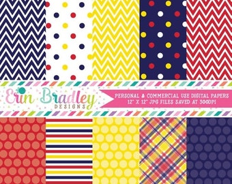 80% OFF SALE Blue Yellow and Red Commercial Use Digital Paper Set