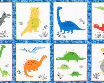 """Bright (Primary) Dinosaurs 24""""x44"""" Panel from Robert Kaufman's Dinoroar Collection by Sea Urchin Studios"""