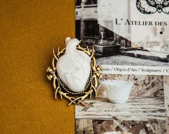 Anatomical heart brooch, human anatomy handmade girlfriend gift // valentines // wedding // porcelain