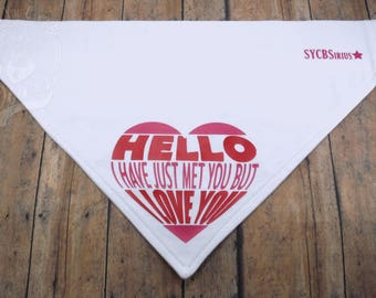 Hello, I Love You! Valentine's V-Shirt. Black cotton graphic over-the-collar bandana for dogs.