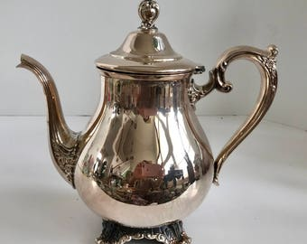 Vintage Wm Rogers & Sons Silverplate Victorian Rose 1902 Teapot