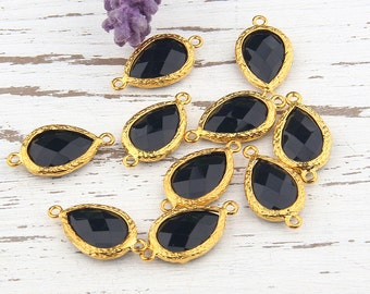 Black, Teardrop Shaped Faceted Acrylic Connector, -Bracelet Link,  , 1 piece // GC-427