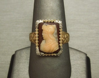 "Men's Antique Victorian Estate C1880 10K Gold Scroll Agate Roman Soldier Cameo Statement Ring Sz 10.5  0.65"""