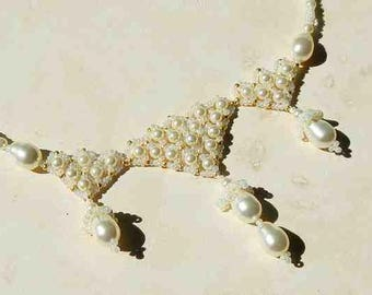 Swarovski Crystal Pearl and Glass Seed Bead Drop Dangle Necklace