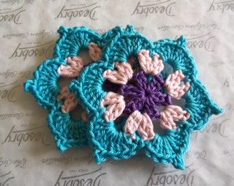 Multi-color Crochet Flower Appliques. Handmade Crochet Flowers.