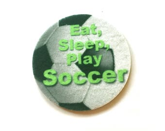 Set of two super absorbent soccer car coasters for your car cup holder - Green Product - Contains an Antibacterial Agent