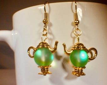 Teapot Earrings, Teapot Jewelry, Teapots, Gold Dangle Earrings, Glass Earrings, Green Dichroic Glass, Glow, Shine, Tea Time Earrings, Tea