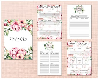 Printable Finance Pages - Digital download home binder finance pages in A4, A5 and letter sizes