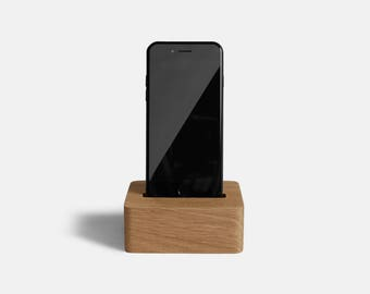 Wood Phone Stand  – Wooden Phone Dock for iPhone 6s, iPhone 7, or iPhone 8 in Oak