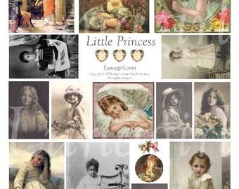 LITTLE GIRLS digital collage sheet, Victorian children, vintage photos antique art beautiful vintage girls cards paintings ephemera DOWNLOAD