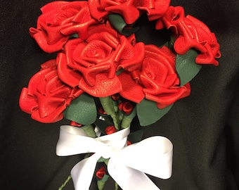 Red Leather Rose Bouquet - Half Dozen