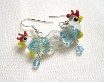 Henrietta the happy chicken earrings -sweet lampwork glass hens and eggs on silver ear wires -Free Shipping USA