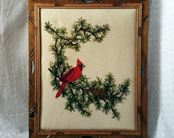 Vintage Framed Crewel, Red Cardinal on Tree Branch, Bird, Embroidery, Carved Wood Frame, '70s Wall Hanging