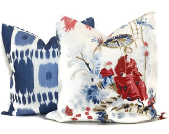 Plaisirs de la Chine Decorative Pillow Cover in Blue and Rouge 18x18, 20x20 or 22x22, throw pillow, accent pillow, Chinoiserie pillow