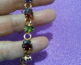 Multi color jewel tone CZ flower Bracelet