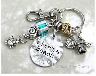 Life's A Beach Keychain Purse Charm Clip On Personalized Birthstone Aquamarine Crystal Charm Sand Shell Crab Charms Life Is A Beach #K1112