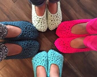 Child crocheted slippers- cute handmade girls slippers - toddler - youth