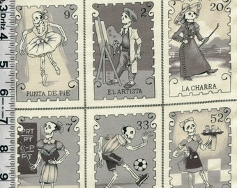 Fabric Henry CARTAS MARCADAS Mexican Dio des los Muertos Skeletons  PANEL  shades of gray