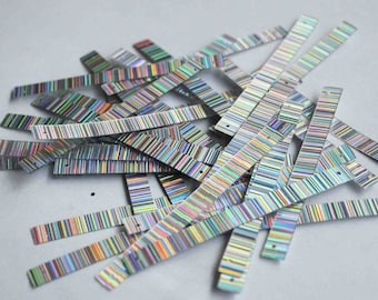 20 Rectangle Rainbow Metallic Silver Stripes Texture Color Sequins/KBRS300