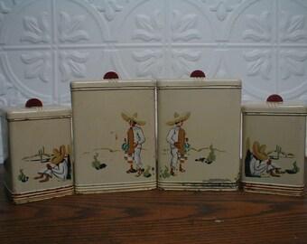 Vintage Kreamer Metal Canister Set/Kitchen Storage/mexican