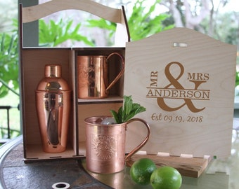 Rustic Moscow Mule Mugs and Shaker Box,Copper Moscow Mule Mugs,Personalized Moscow Mule Mug,Engraved Moscow Mule Mug Gift Box,Solid Copper