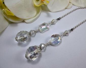 Crystal Ceiling Fan Pulls, Crystal Light Pulls, Crystal Fan Pulls, Beaded Fan Pulls, Ball Chain Pull, Fan Pull, Light Pull, Crystal Beads