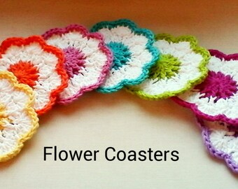 Set of 6 or 4 Crochet Coasters