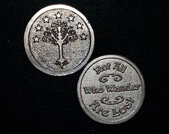 Not All Who Wander Are Lost and The White Tree LOTR inspired Coin