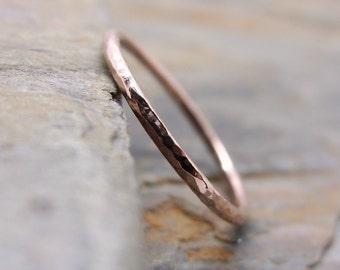 Thin 14k Rose Gold Wedding Ring - Plain Band - Smooth, Hammered, or Brushed / Matte / Satin Full Round Wedding Band - Rose Gold Halo Ring