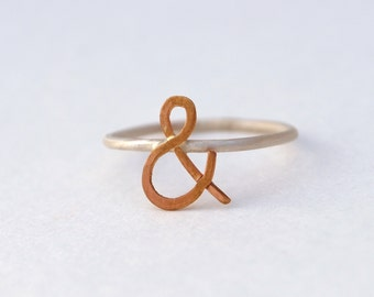 ampersand rose gold yellow gold Sterling silver ring