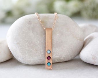 Rose Gold Birthstone Bar Necklace. Personalized Birthstone Necklace, Rose Gold Family Totem Necklace. Custom Rose Gold Necklace for Mom.